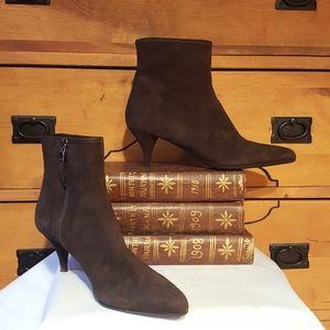 PRADA ankle heel boots dark brown suede size 36
